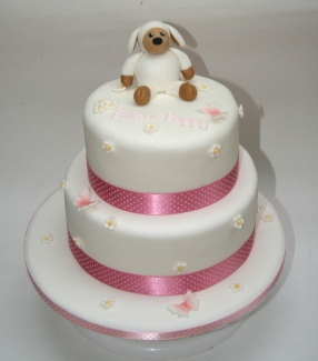 Cuddly Toy Sheepy on a Christening Cake