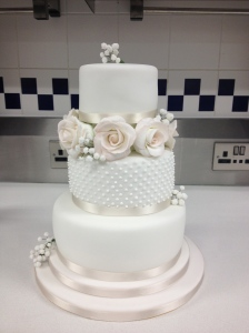 Traditional Wedding Cake with Sugar Roses