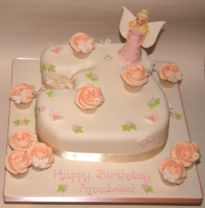 Number 3 Cake with Fairy and Roses
