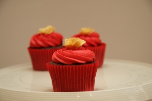 Chocolate cupcake with hand made rose decoration