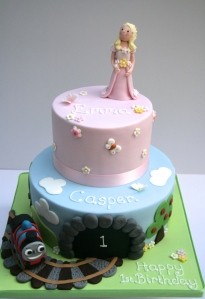 Cake for boy and girl twins
