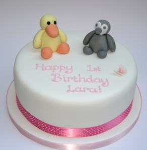 Cuddly Toy Duck and Penguin Cake