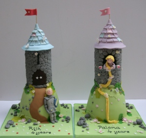 Boy and girl castle cakes