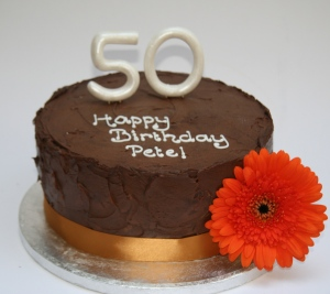 Chocolate 50th Birthday Cake Orange