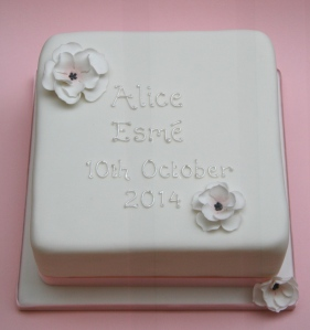 Christening Cake with Flowers