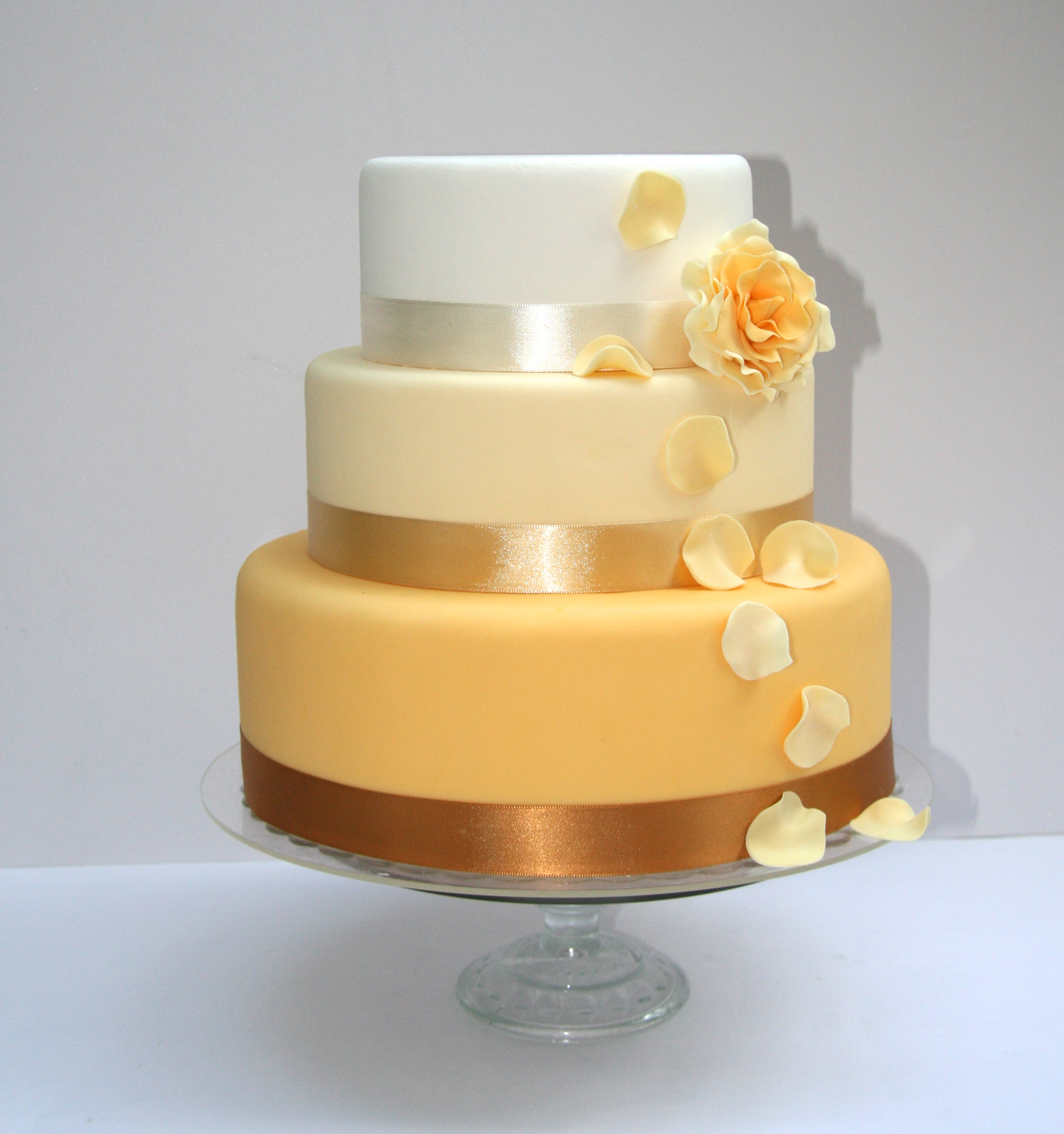 Golden Ombre Wedding Cake With Petals | Etoile Bakery