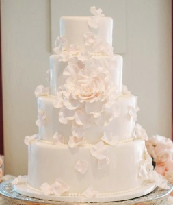 Scattered Petals Wedding Cake