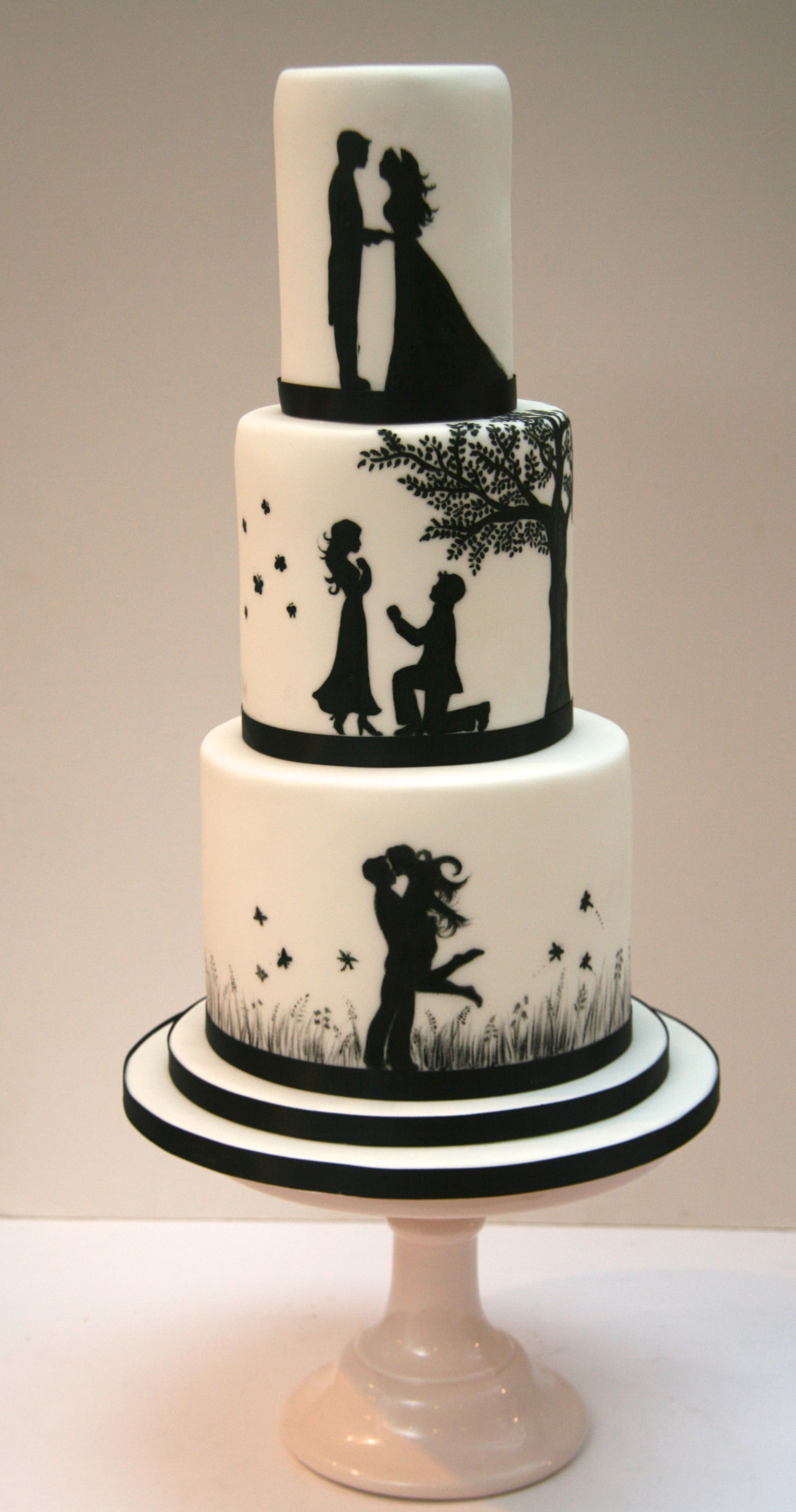 romantic silhouette wedding cake london etoile bakery. Black Bedroom Furniture Sets. Home Design Ideas