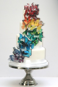 Rainbow of butterflies wedding cake