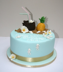 Tropical 40th Birthday cake