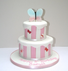 Candy Strip Butterfly Cake