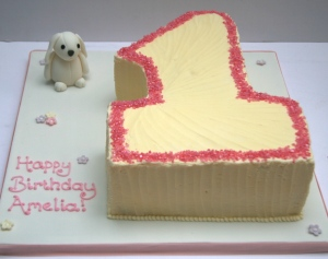 Number 1 and bunny first birthday cake