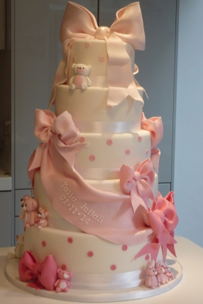 Ribbon and Bow Naming Day Cake