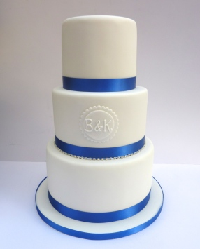 Simple Monogram and Blue Wedding Cake