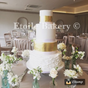 Gold Leaf and Ruffle Wedding Cake