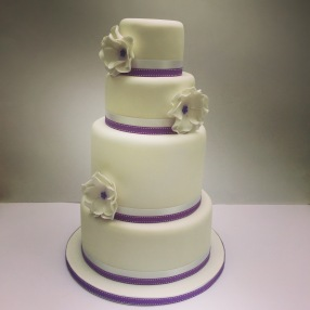 Purple Highlights Wedding Cake