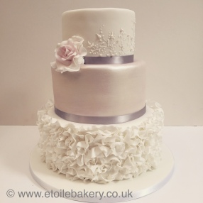 Ruffle and Embroidery Wedding Cake