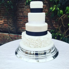 Ruffle Monochrome Wedding Cake