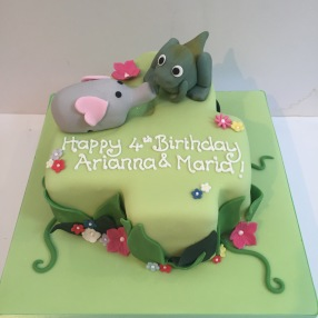 Number 4 Dinosaur And Elephant Cake