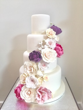 Flower swathe wedding cake
