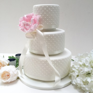 Dotty Wedding Cake with Large Peonie