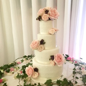Polka Dot and Rose Wedding Cake