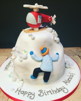 Helicopter and Mountain Climbing Cake
