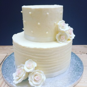Buttercream and Sugar Rose Wedding Cake