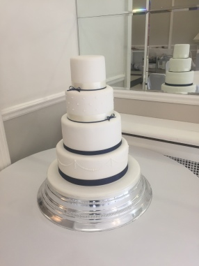 Elegant Simplicity - Piped Wedding Cake with Monochrome Bows