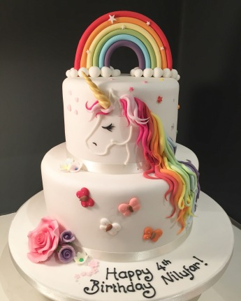 Unicorn, Rainbow and Butterfly Cake