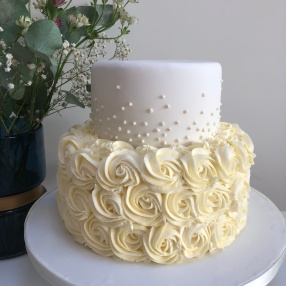 Small Wedding Cake with Buttercream Roses
