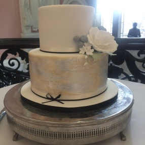 Distressed Silver and Rose Wedding Cake
